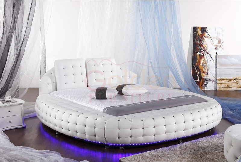Diamond luxury king size round bed on sale 6821 buy for New bed designs images