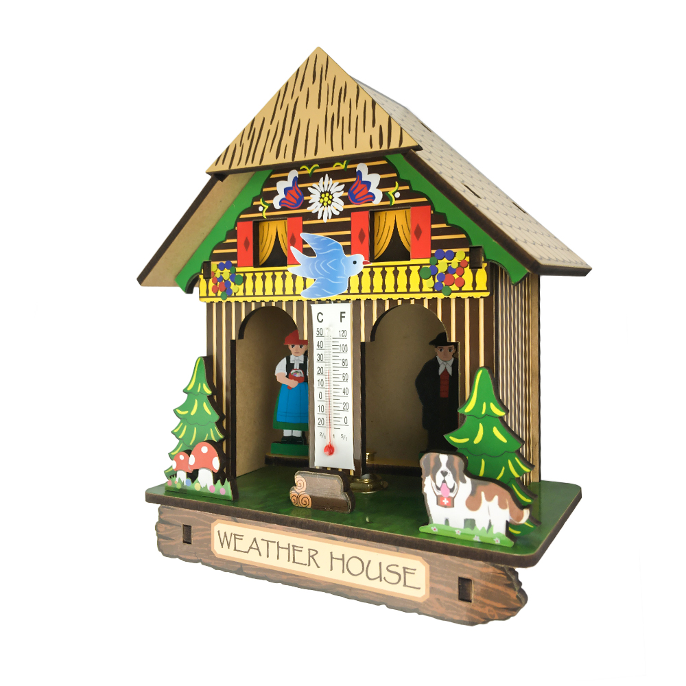 Cheap Wooden Weather House With Thermometer German Black Forest Barometer With Bavarian Heidi View Miniature Wood Crafts Houses Mh Product Details