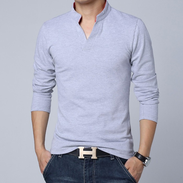 New Fashion Brand Men Clothes Solid Color Long Sleeve Slim Fit T Shirt Men Plain Cotton T-Shirt