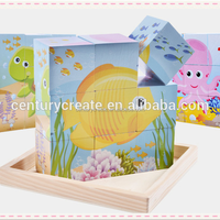 cartoon wooden children six sides 9 Cubes toy wooden Blocks puzzle