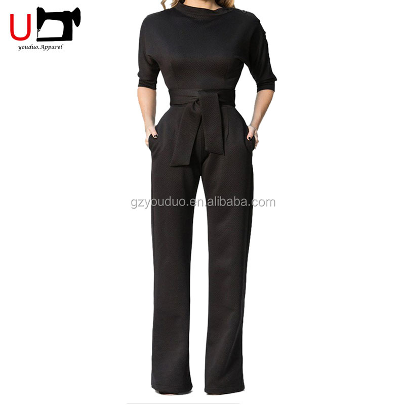 Sexy Lady Bottoms One Shoulder Women Half Sleeve Jumpsuit Elegant Wide Leg Jumpsuit