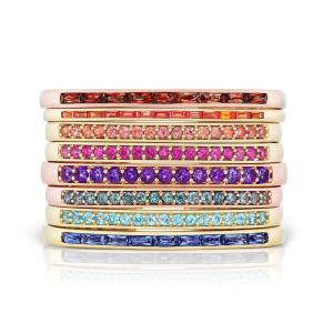 fashion Chic jewelry colorful cz various colored birthstone female ladies summer gift rainbow stone open bracelet bangle