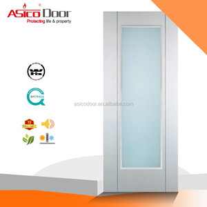 Wooden mat glass hotel room door design