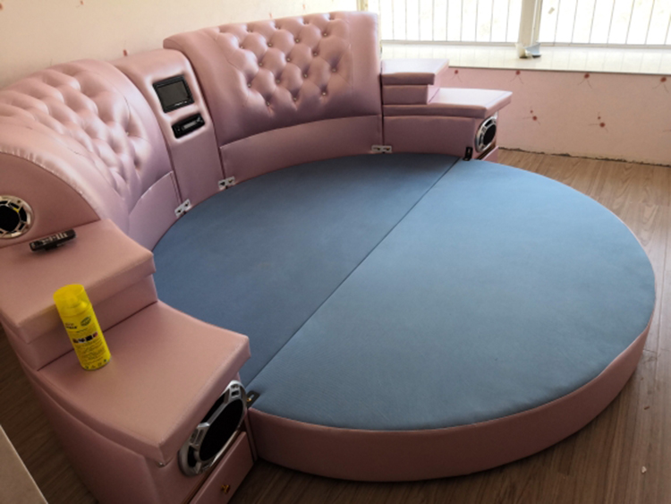 girls bedroom furniture pink big round leather bedcheap