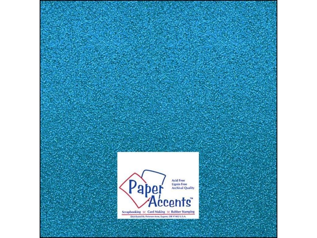"Accent Design Paper Accents ADP1212-15.G08 No.85 12"" x 12"" Ocean Blue Glitter Card Stock"