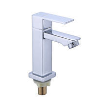 Factory supplier modern bathroom sink tap deck mounted chrome single handle single cold water wash hand zinc square basin faucet