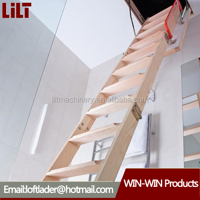New design domestic loft ladder folding wooden attic stairs