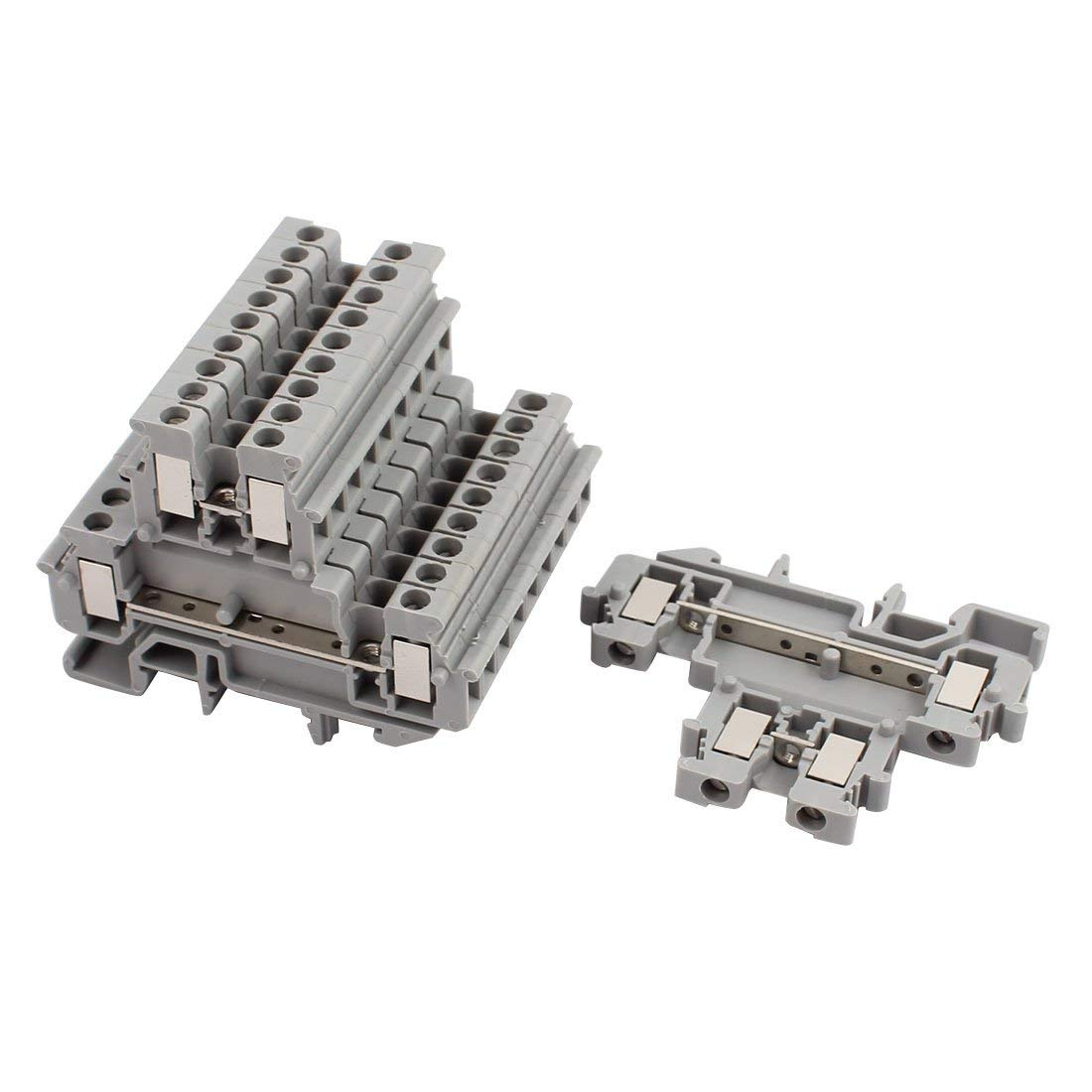 uxcell 10Pcs MBKKB2.5 DIN Rail Mount Double-Level Terminal Block 500V 2.5mm2 Cable Gray