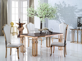 Champagne Gold 304 Stainless Steel Dining Table With Fabric Dining Chairs,  View stainless steel dining table, BISINI Product Details from Zhaoqing ...