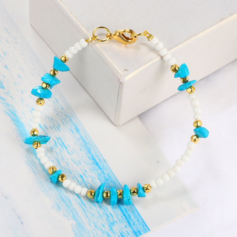 Dainty Delicate Miyuki beed anklets irregular blue turquoise stone anklets