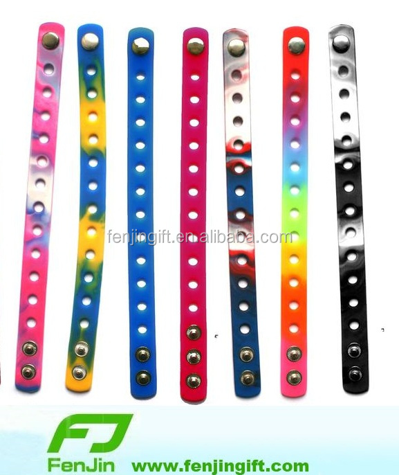 PVC charms silicone snap bracelet with holes