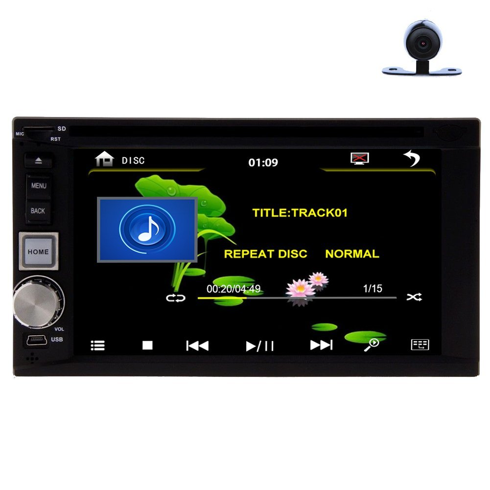 Christmas Sale!!! PC Pupug In Dash Double Touch Screen Din 6.2 inch Radio Motorized Touchscreen Subwoofer Car DVD Player Video Audio CD MP3 USB SD MP4 MP3 Player Receiver Receiver Bluetooth Mu