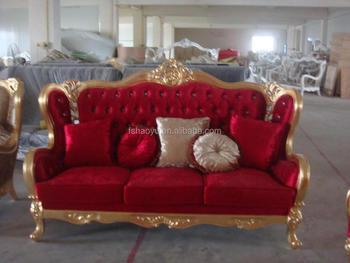 2015 Arab Red Velvet Sofa, Clssic Love Seat For Wedding