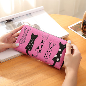 Customized multilayer paper money purse women embroidery patches leather coin wallet
