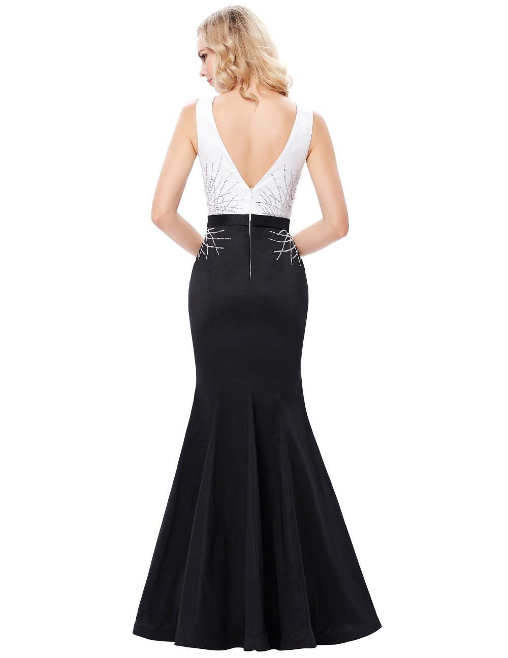 Kate Kasin Sleeveless Boat Neck V-Back Full-Length Black and White Mermaid Prom Dress KK001020-1