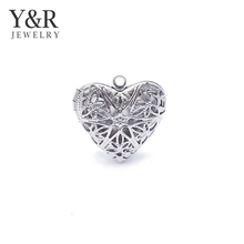 316 stainless steel hollow Locket Frame heart Engraving pendant