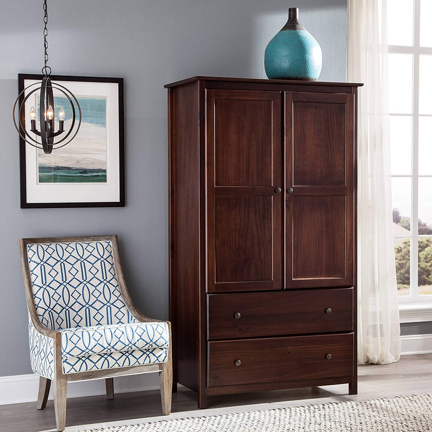 2-Door Solid Wood Armoire, 2 Drawers and 2 Large Doors, Made of Pine Wood, Metal Knobs, Luxurious ans Spacious, Sturdy Construction, Elegant and Stylish, Includes Hardware, Merlot Cherry Finish