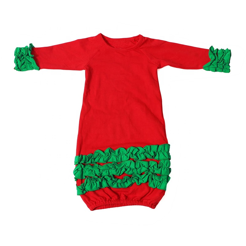 wholesales baby girls goods clothes red and green ruffled sleeping bag baby Christmas gown