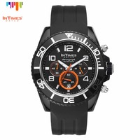 InTimes Watch Brand Men Watch Plastic Case 44mm Silicon Band 22mm Chronograph 10ATM Black IT-069 Retail Wholesale OEM