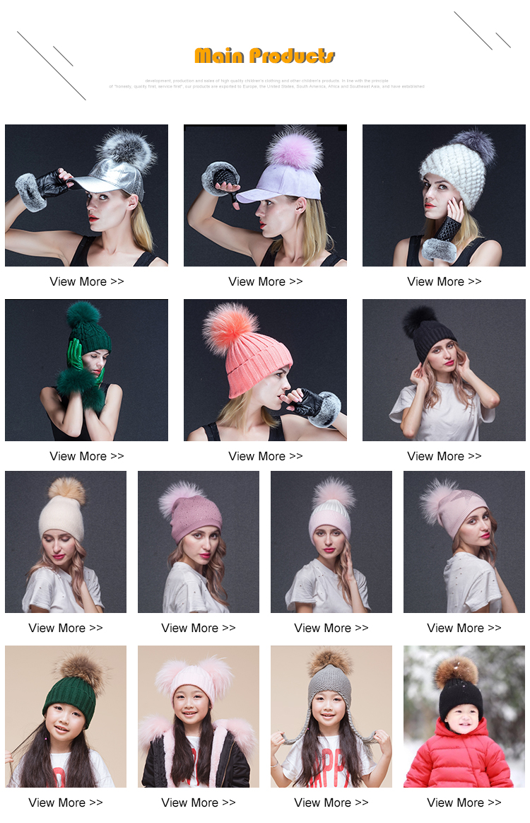 Fashion Angora Knitted Fur Hats for Ladies Beanie With Pompon