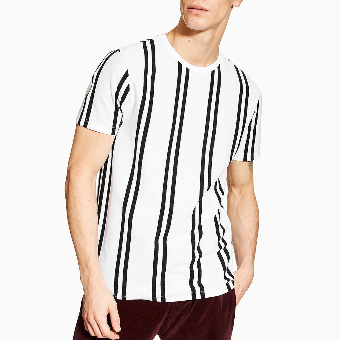 Pria Jalan Wear Kustom Dicetak Hitam Putih Vertikal Bergaris T-Shirt