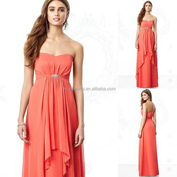 2015 Coral Bridesmaid Dress New Arrival Long Chiffon Empire ...