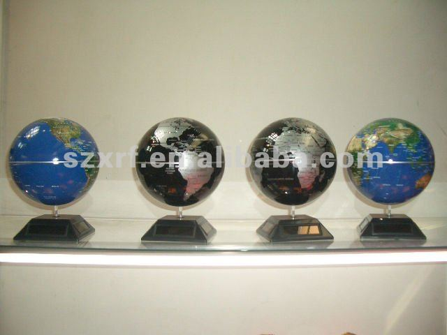 XRF Solar powered rotating world globe map for Geography teaching or office
