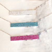 925 sterling silver clear pink turquoise cz paved bar necklace