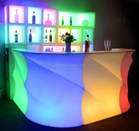 Non-folding Bar Counter Modern Appearance Led Lighting Wave Bar Table For Hotel