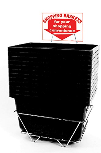 12 Basket Set Shopping Baskets Black Jumbo-size, Heavy-duty, Grocery Basket