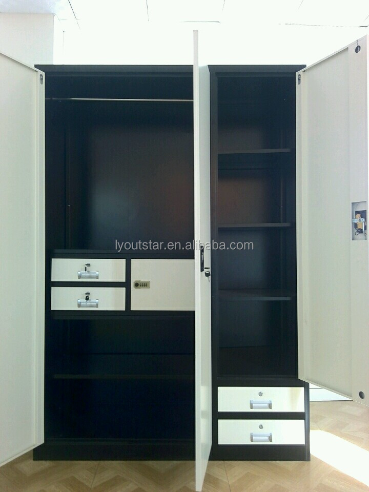 India bedroom steel wardrobe swing door design with safe lock