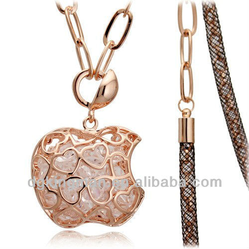 New Fashion jewelry Austrian crystal Rose Gold Plating China Manufacturer Apple Necklace