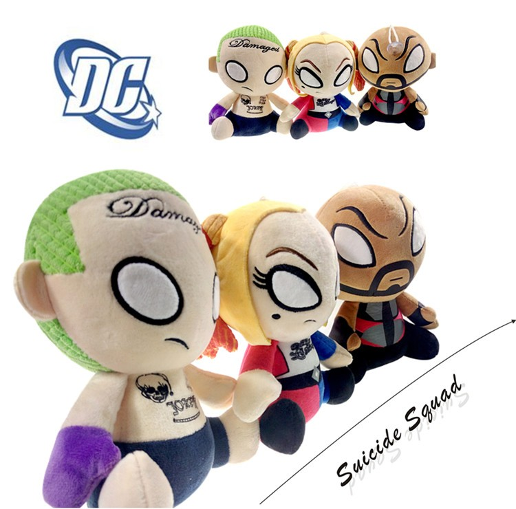 Factory direct 8 inch Suicide Squad Joker Deadshot Harley Quinn Plush Toy Suction cup Stuffed Human Grab doll