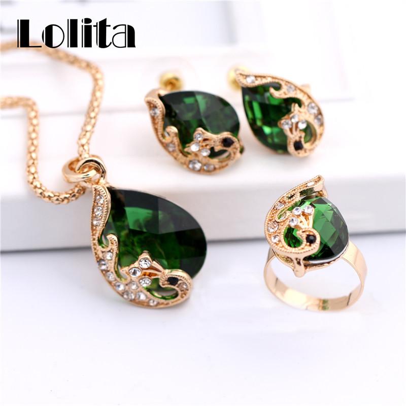 f29ec6d55c77 18 k желтое золото заполненные прозрачный смола кристалл павлин ожерелье  серьги кольцо свадьба ювелирные изделия комплект