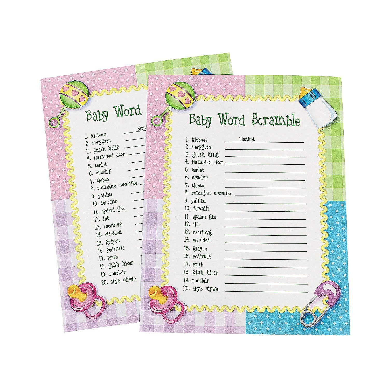 Get Quotations · Fun Express Baby Word Scramble Baby Shower Game   24 Pieces