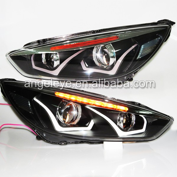 For Focus headlights angel eye front lights Bi Xenon projector lens 2015 year LD