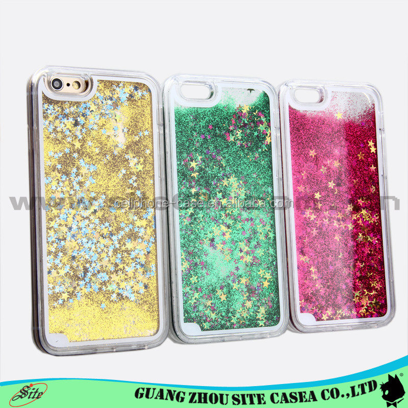 Transparent plastic 3D bling glitter star mobile phone case for <strong>iphone</strong> <strong>4G</strong> 5G 6G 6Plus