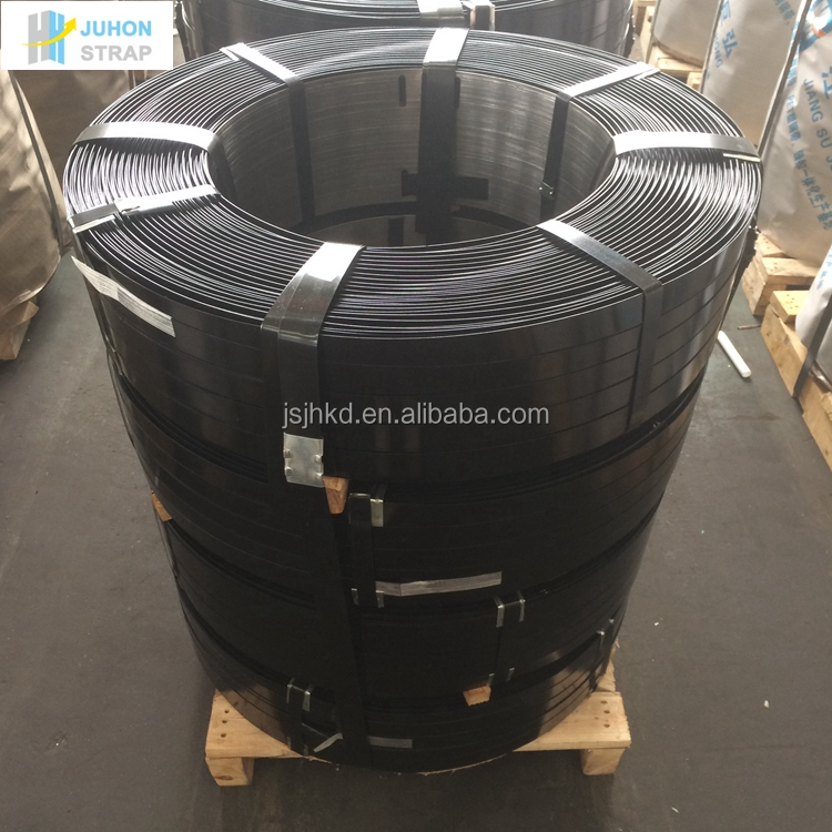 High tensile black painted steel strapping for packing and binding