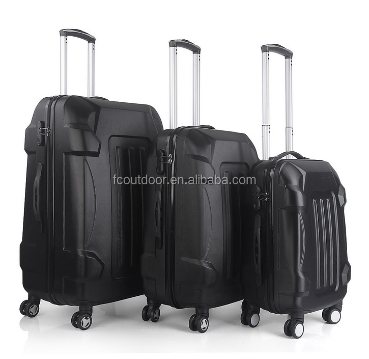 Black Double Wheeled ABS 20 24 28 Inch Trolley Suitcase Set