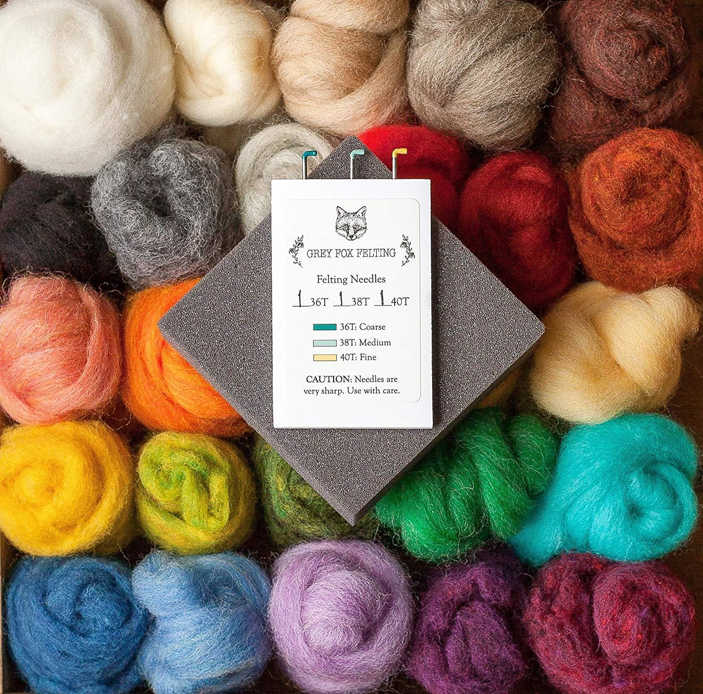 "Grey Fox Felting ""Needle Felting Starter Kit"" - Beginner DIY Craft Kit with 100% Wool Roving and Wool Batting Assortment, Foam Block, Felting Needles, Instructions"