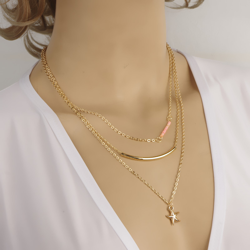 Pink crystal starfish necklace gold layered jewelry necklace ...