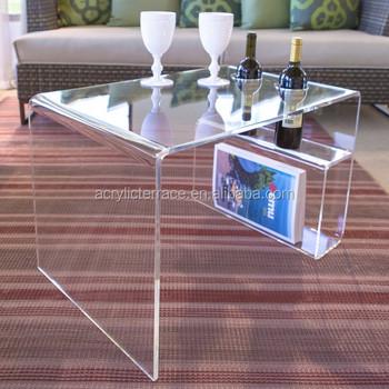 7f09c1e5da Acrylic Coffee Tea Table With Magazine Rack Wine Bottle Holder ...