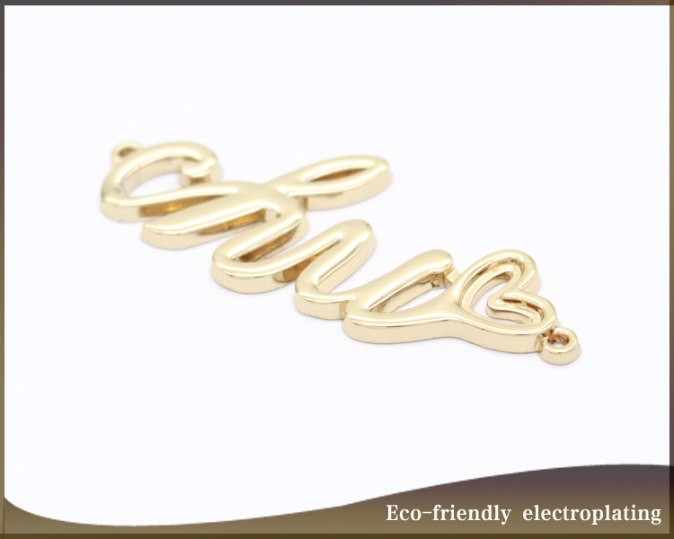 Hollow Design Shiny Gold Metal Letter Name Logo Label For Abaya Custom