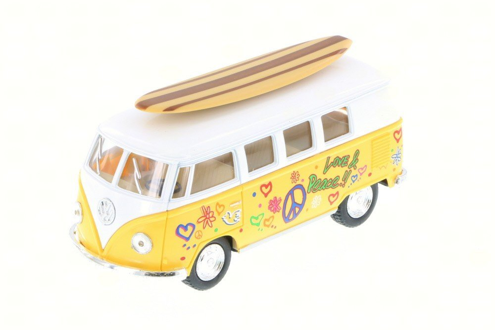 1962 Volkswagen Classic Bus w/ Surfboard & decals, Yellow - Kinsmart 5060DS - 1/32 Scale Diecast Toy Car