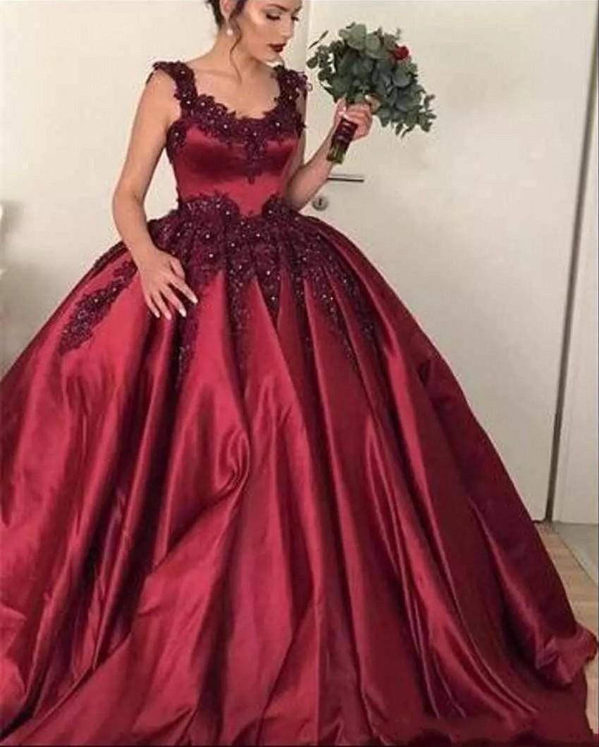 ZH4009G Burgundy Ball Gown Quinceanera Dresses 2019 Scoop Lace Appliques Beaded Sweet 16 Puffy Custom Prom Evening Pageant Gowns