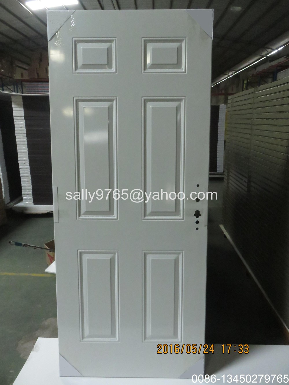 Double Half Lite Glass Blind Door,Metal Door With Safety Glass(0086-13450279765)