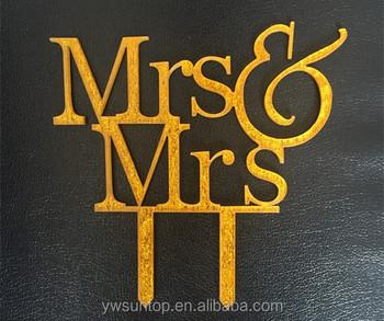 Mrsu0026Mrs Gold Acrylic Cake Topper Lesbian Wedding Decorations