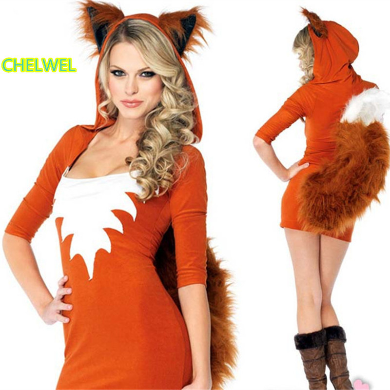 womans halloween fire fox cosplay costumes witch with the queen cosplay costume cat girl animal nightclub