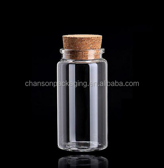 High quality glass bottle with cork top 50ml clean candy glass bottle