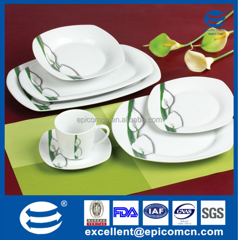 20PC-EX7209 set with oval rice plate square white porcelain dinnerware set for turkey and  sc 1 st  Alibaba : white porcelain square dinnerware - pezcame.com